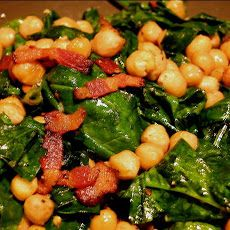 Spinach and Chick Peas with Bacon Recipe | SparkRecipes