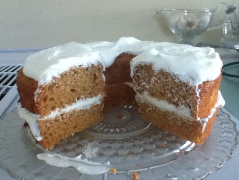 pumpkin angle food cake with creamy ginger filling